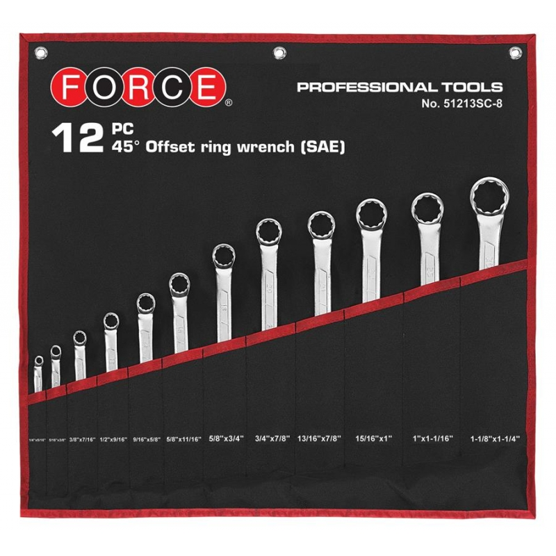 12pc 75° Offset Ring Wrench Set (in Cloth Bag) (sae)
